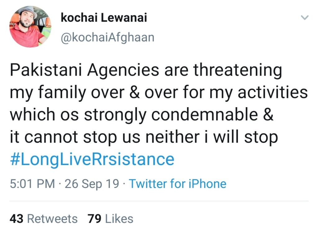 Family of Human Rights Activist, a Pashtun Muslim Kochai Lewanai threatened