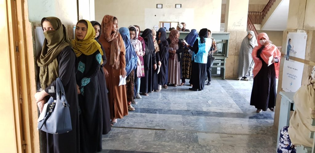 Afghan Election 2019:  Women queuing outside the Polling Station to cast their votes despite Taliban Terrorist Threats