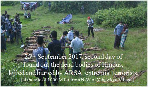 Dead Bodies recovered of Hindus killed and buried by Bengali Muslim Islamic Terrorist organization Arakan Rohingya Salvation Army (ARSA)