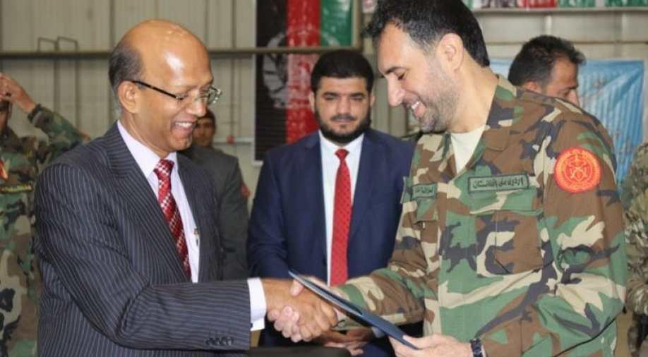 Indian Ambassador to Afghanistan Vinay Kumar with Afghanistan's defence minister Asadullah Khalid