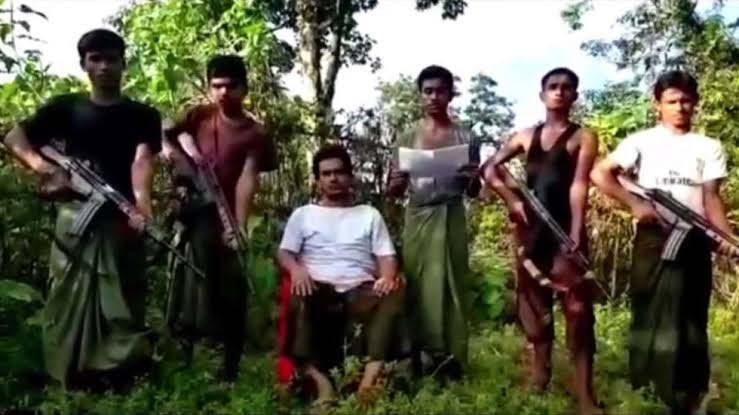 Bengali Muslim Islamic Terrorist organization Arakan Rohingya Salvation Army (ARSA) leader Ata Ullah with his Terrorist group