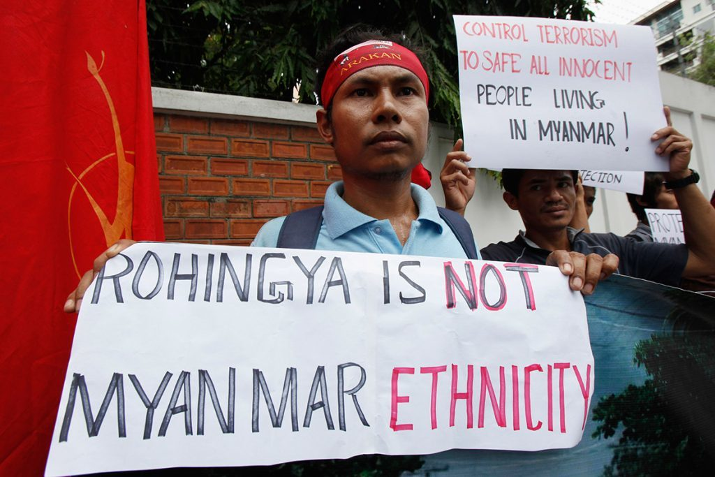"Protesters with the Banner ""Rohingya is not Myanmar Ethnicity"""