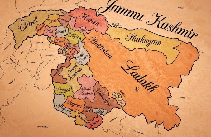 Map of erstwhile Princely state of Jammu and Kashmir: Jammu and Kashmir Includes Chitral and Parts of Kohistan