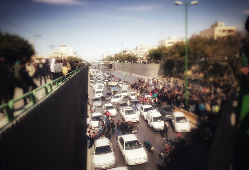 Traffic blocked by Protesters on the National Highway