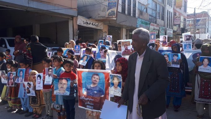 Pakistani army continues its Genocide In Balochistan: Demonstration by civilians including women and children protesting against the illegal enforced disappearance of their family members.
