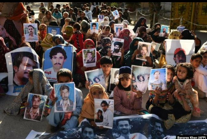 Pakistani army continues its Genocide In Balochistan : Demonstration by civilians including women and children protesting against the illegal enforced disappearance of their family members.