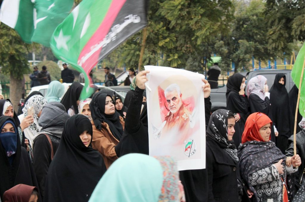 ISLAMABAD: Jan05- Activists of Imamia Organization Pakistan hold a protests in Islamabad, Pakistan as they shout slogans against U.S. airstrike in Iraq that killed Iranian Revolutionary Guard Gen. Qassem Soleimani during protest demonstration outside National Press Club in provincial capital. ONINE PHOTO by Sunny Ghouri