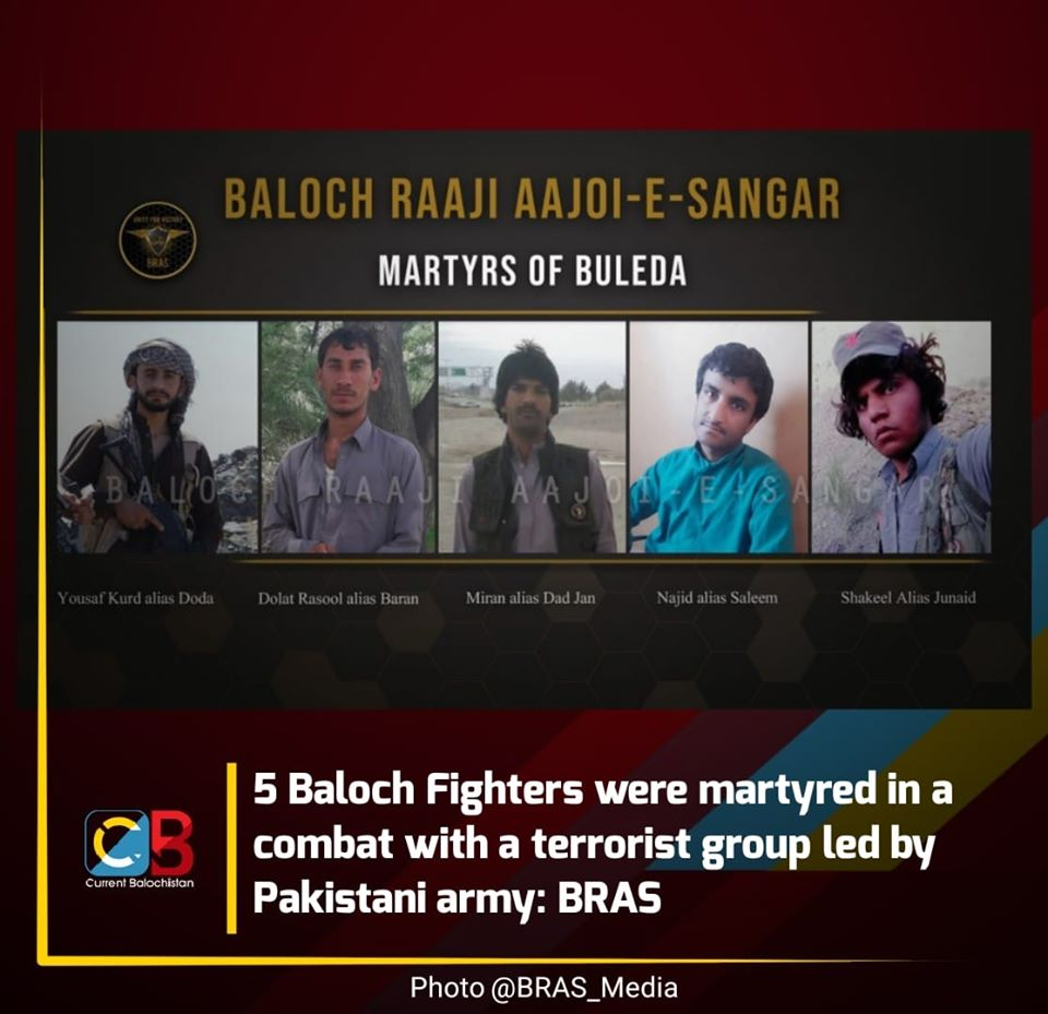 5 Balochistan Freedom Fighters were martyred in a combat with UN Designated Terrorist Group Lashkar-e-Taiba, led by Pakistani army
