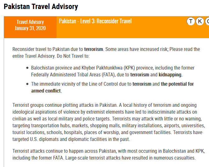 Pakistan Travel Advisory by United States