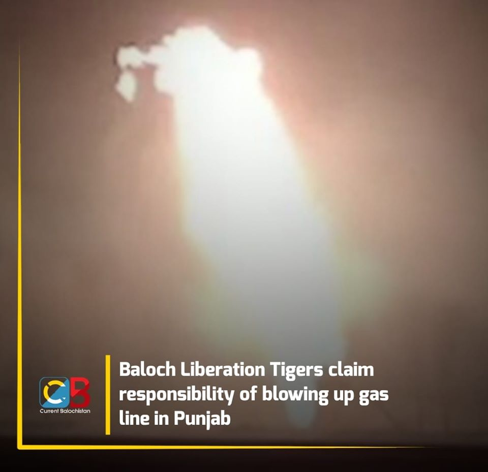 Balochistan Freedom Fighters blew up a gas line in Punjab in Pakistan