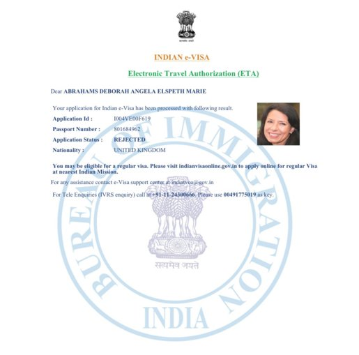 Copy of the e-VISA of Debbie Abrahams with Rejected status.