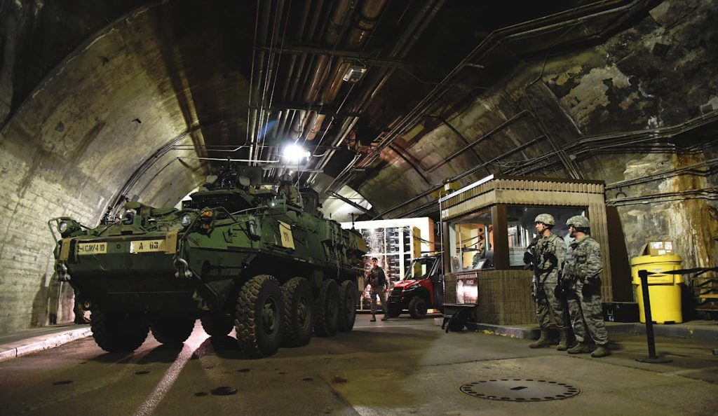 A US Army Stryker wheeled armored vehicle from the 4th Infantry Division positioned inside one of Cheyenne Mountain Bunker tunnels during an exercise.
