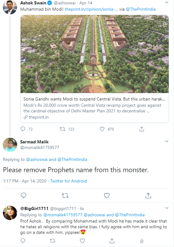 Is Ashok Swain Anti-Muslim?: An offensive tweet by Ashok Swain where he compared Indian PM Narendra Modi to Muhammad PBUH
