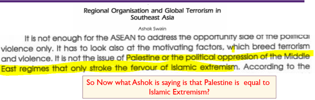 Ashok Swain Equating Palestine with Islamic Extremism