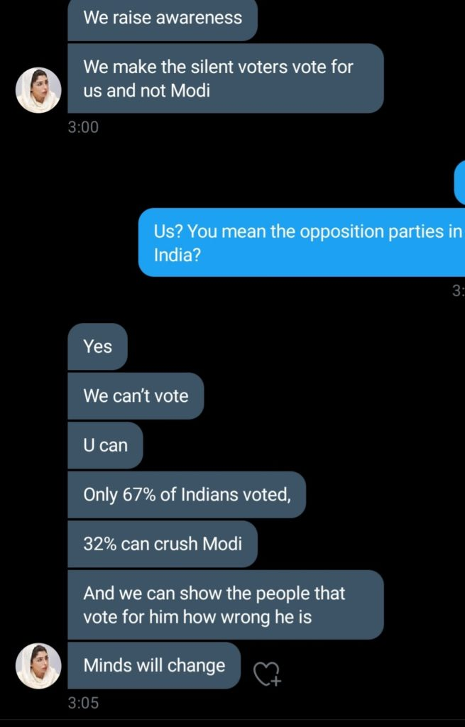 Attaching the Screenshot of chat with the rogue 'Princess' posted by T. R. Sriniwas exposing the rogue 'Princess' conspiring to throw away Indian Government led by PM Narendra Modi