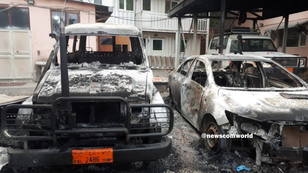 Explosion and Attack on 100-bed maternity hospital that completely destroyed the vehicles outside the hospital