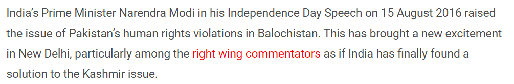 Ashok Swain the Muslim hating ISI's Concubine: Screenshot from the article of Ashok Swain trying to link the Balochistan Freedom movement with Hindu Right Wing in India