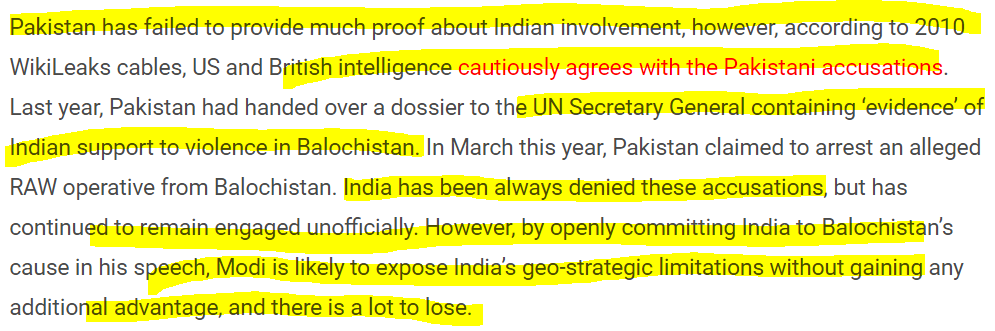 No evidence that India is supporting the Freedom movement in Balochistan