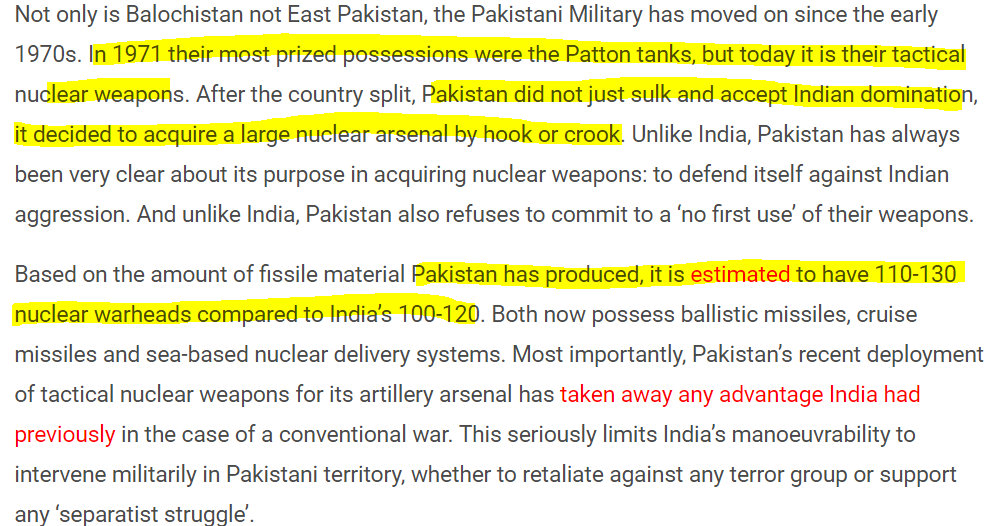 Screenshot of article of Ashok Swain that parrots the Nuclear Threat by Pakistan, which is the standard Pakistan Intelligence Agency ISI propaganda line